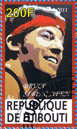 DJIBOUTI - CIRCA 2011: A postage stamp printed in the Republic of Djibouti showing Bruce Frederick Joseph Springsteen, circa 2011