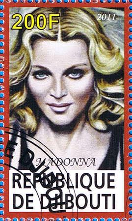 DJIBOUTI - CIRCA 2011: A postage stamp printed in the Republic of Djibouti showing Madonna Louise Ciccone, circa 2011  Editorial