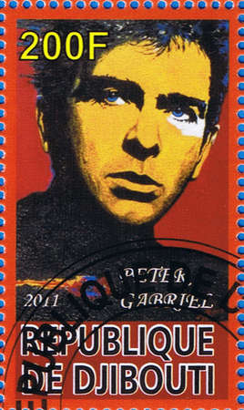DJIBOUTI - CIRCA 2011: A postage stamp printed in the Republic of Djibouti showing Peter Brian Gabriel, circa 2011