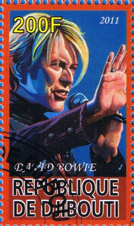 DJIBOUTI - CIRCA 2011: A postage stamp printed in the Republic of Djibouti showing David Bowie, circa 2011
