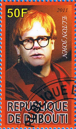 DJIBOUTI - CIRCA 2011: A postage stamp printed in the Republic of Djibouti showing Elton John, circa 2011