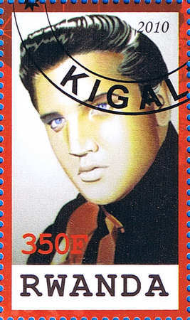 RWANDA - CIRCA 2010: A postage stamp printed in the Republic of Rwanda showing Elvis Aaron Presley, circa 2010  Stock Photo - 17393350