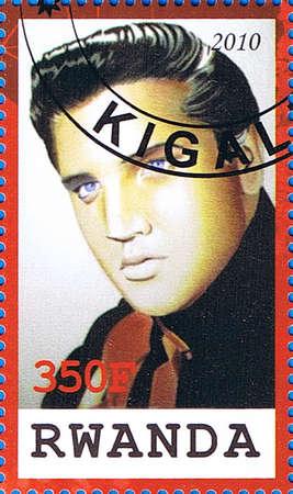 RWANDA - CIRCA 2010: A postage stamp printed in the Republic of Rwanda showing Elvis Aaron Presley, circa 2010  Stock Photo - 17393350