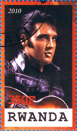 RWANDA - CIRCA 2010: A postage stamp printed in the Republic of Rwanda showing Elvis Aaron Presley, circa 2010