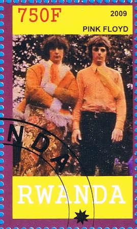 pink floyd: RWANDA - CIRCA 2009: A postage stamp printed in the Republic of Rwanda showing Pink Floyd, circa 2009