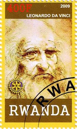 RWANDA - CIRCA 2009: A postage stamp printed in the Republic of Rwanda showing Leonardo da Vinci, circa 2009