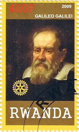 observational: RUANDA - CIRCA 2009: Un sello impreso en la Rep�blica de Rwanda mostrando Galileo Galilei, circa 2009 Editorial
