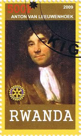 RWANDA - CIRCA 2009: A postage stamp printed in the Republic of Rwanda showing Antonie van Leeuwenhoek, circa 2009  Stock Photo - 17764853