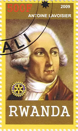 RWANDA - CIRCA 2009: A postage stamp printed in the Republic of Rwanda showing Antoine Lavoisier, circa 2009