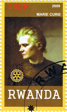 RWANDA - CIRCA 2009: A postage stamp printed in the Republic of Rwanda showing Marie Curie, circa 2009  Stock Photo - 17764858