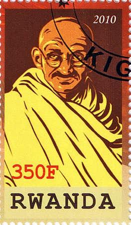mahatma: RWANDA - CIRCA 2010: A stamp printed in Rwanda shows Mahatma Gandhi, series, circa 2010