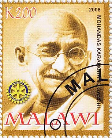 nonviolence: MALAWI - CIRCA 2008: A stamp printed in Malawi shows Mahatma Gandhi, series, circa 2008