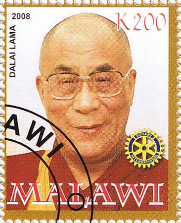 MALAWI - CIRCA 2008: A stamp printed in Malawi shows Dalai Lama, series, circa 2008 Editorial
