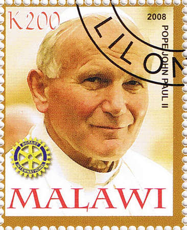 MALAWI - CIRCA 2008: A stamp printed in Malawi shows Pope John Paul II, series, circa 2008 Editorial