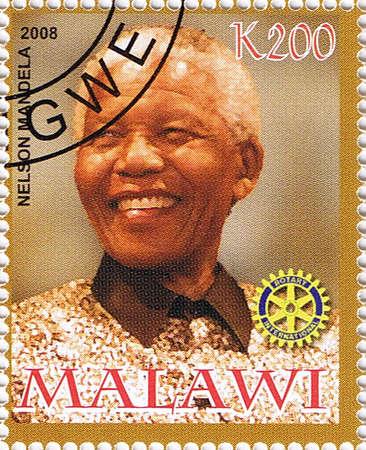 MALAWI - CIRCA 2008: A stamp printed in Malawi shows Nelson Mandela, series, circa 2008 Editorial