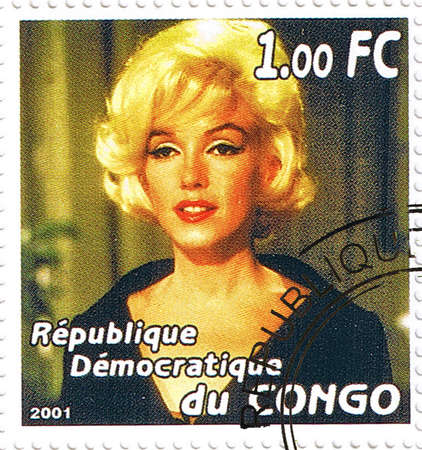 postmarked: Republic of the Congo - CIRCA 2001: A stamp printed in Congo depicting an image of legendary Hollywood actress Marilyn Monroe, circa 2001 Editorial