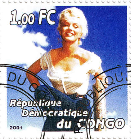 marilyn: Republic of the Congo - CIRCA 2001: A stamp printed in Congo depicting an image of legendary Hollywood actress Marilyn Monroe, circa 2001 Editorial