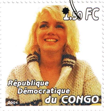Republic of the Congo - CIRCA 2001: A stamp printed in Congo depicting an image of legendary Hollywood actress Marilyn Monroe, circa 2001 Redakční