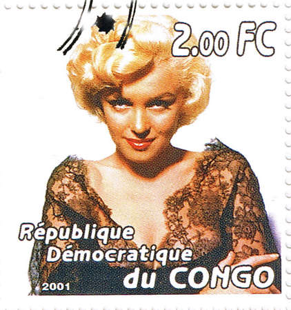 Republic of the Congo - CIRCA 2001: A stamp printed in Congo depicting an image of legendary Hollywood actress Marilyn Monroe, circa 2001