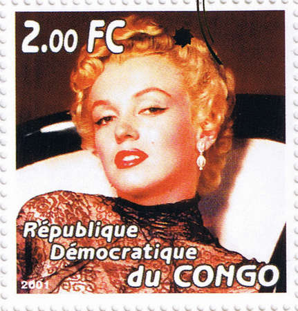 postmarked: CONGO - CIRCA 2001: A stamp printed in Congo depicting an image of legendary Hollywood actress Marilyn Monroe, circa 2001