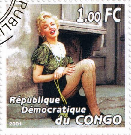 CONGO - CIRCA 2001: A stamp printed in Congo depicting an image of legendary Hollywood actress Marilyn Monroe, circa 2001