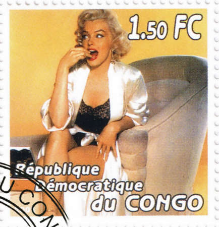 marilyn: CONGO - CIRCA 2001: A stamp printed in Congo depicting an image of legendary Hollywood actress Marilyn Monroe, circa 2001