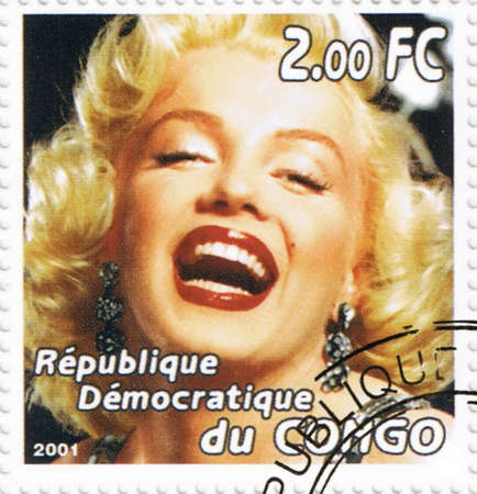 CONGO - CIRCA 2001: A stamp printed in Congo depicting an image of legendary Hollywood actress Marilyn Monroe, circa 2001