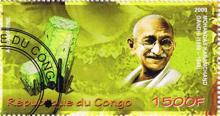 nonviolence: CONGO - CIRCA 2009: A stamp printed in Congo shows Mahatma Gandhi, circa 2009