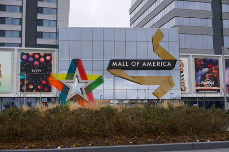 Minneapolis, Minnesota, USA - November 2016: The Mall of America exterior photo. Largest shopping mall in America is a tourist attraction feature amusement park inside
