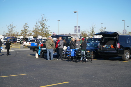 East Rutherford, New Jersey - November 2016: New York Jets fans tailgate outside Metlife Stadium before sunday football game to cheer for favorite team. Editorial