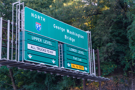 George Washington Bridge traffic highway sign direction to upper and lower level of the suspension roadway exit from New Jersey Turnpike