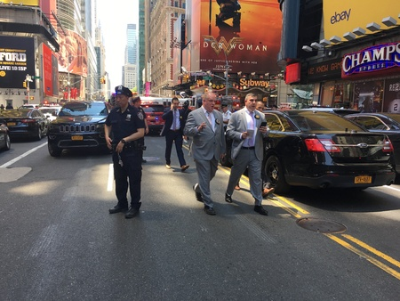 New York City - May 2017: Times Square car accident kills and injures pedestrians breaking news scene in Manhattan. NYPD police detectives investigate accident and vehicular homicide accused. DWI arrest.