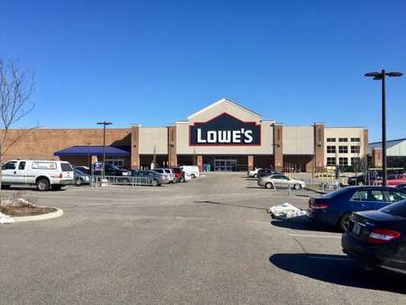 Long Island, New York - Circa 2017: Lowes Home Improvement and appliance chain retail store exterior establishing photo. Fortune 500 company sells construction supplies and building materials