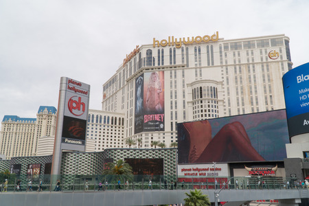 Las Vegas, USA - Circa 2017: Planet Hollywood hotel casino resort on Vegas blvd strip. Billboard for Britney Spears concert residency show in hall to buy tickets