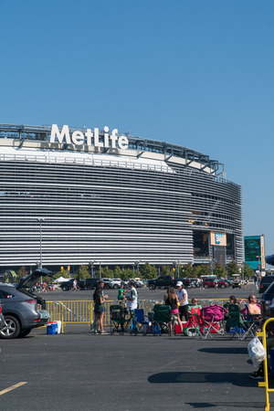 New Jersey - Circa 2017: Metlife Stadium exterior day photo during parking lot tailgate before New York Jets football game sporting event