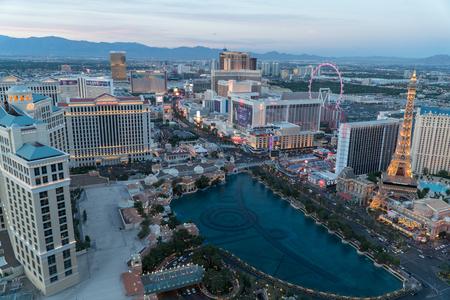 Las Vegas, USA - Circa 2017: Aerial establishing photo overhead Las Vegas strip skyline of hotel casino resorts during evening sunset dusk Editorial
