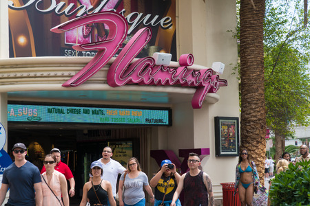 Las Vegas Nevada - Circa 2017: Flamingo hotel and casino entrance. Setting for gangster movies robbing money
