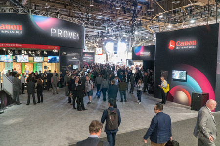 Las Vegas, NV - April 2017: Multinational corporation specialized in the manufacture of imaging optical products, cameras and camcorders booth at NAB Show. National Association of Broadcasters Редакционное