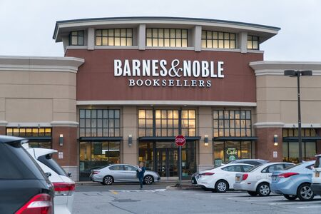 New York, USA - Circa 2018: Barnes & Noble booksellers book store retail location in suburban shopping center. Exterior store front facade signage.