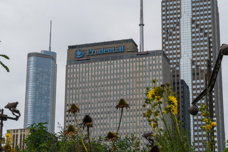 Chicago, USA - Circa 2019: Prudential financial insurance company headquarters building in Illinois USA establishing shot on a cloudy day in midwest