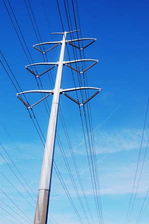 High power pole with blue sky