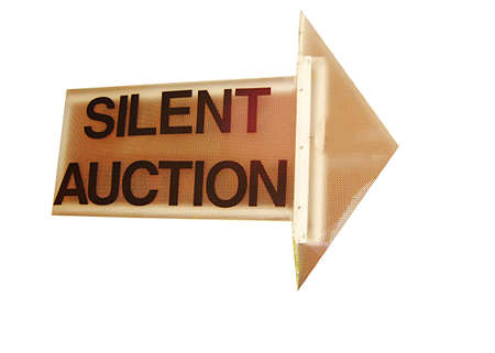 haggling: Silent auction sign in arrow form with white background.