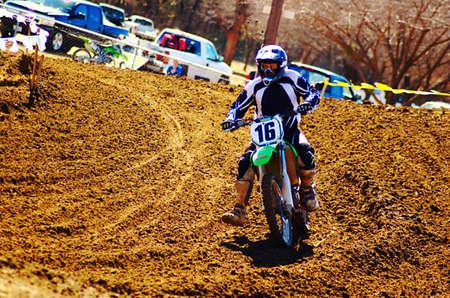 Rider takin a hard turn.