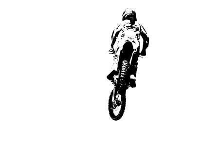 dirt bike: Black and white silhouette of dirt bike rider. Stock Photo