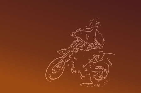 dirt bike: Silhouette of dirt bike rider with brown background. Stock Photo