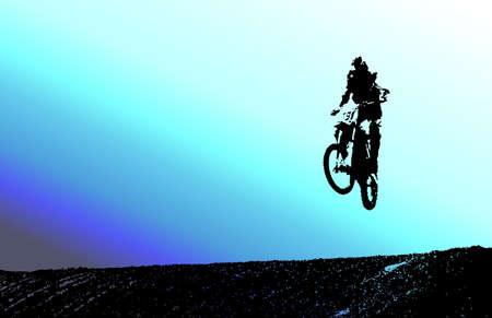 muti: Silhouette of dirt bike rider with a muti color backgound. Stock Photo