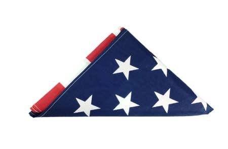American flag folded on white background Stock Photo