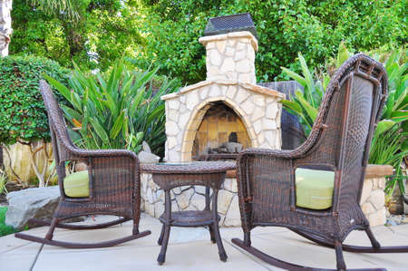 Fireplace in Backyard Stock Photo