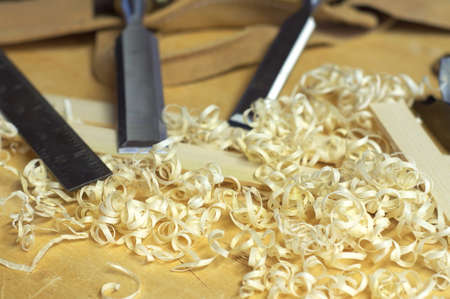 Chisels and shavings Stock Photo