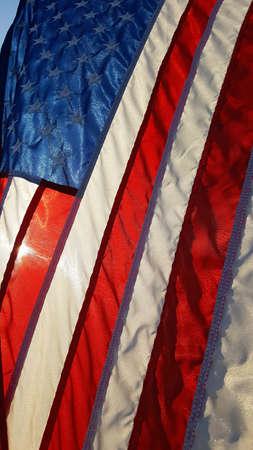Sun shining on Vets American flag